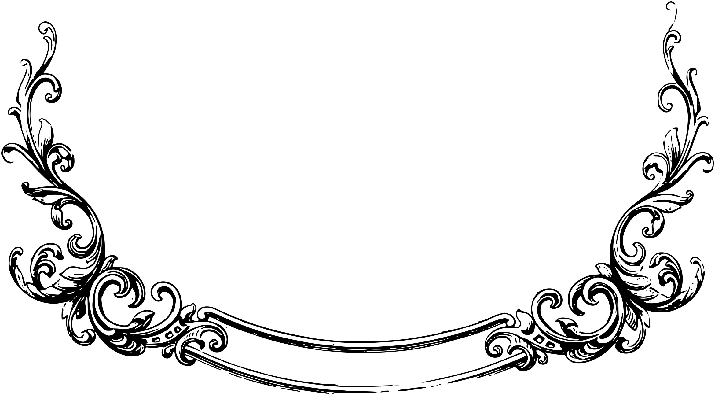 black scroll frame clipart #19