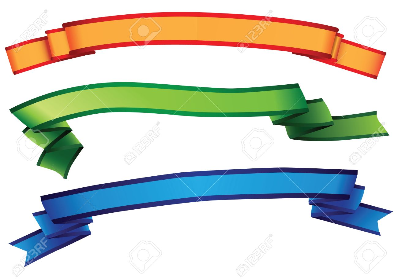 Three Colorful Decoration Ribbons For Decorative Works. Vector.