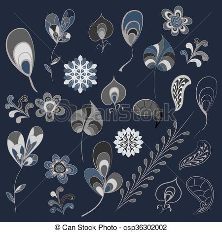 Vector Clipart of Decorative items for decoration works..