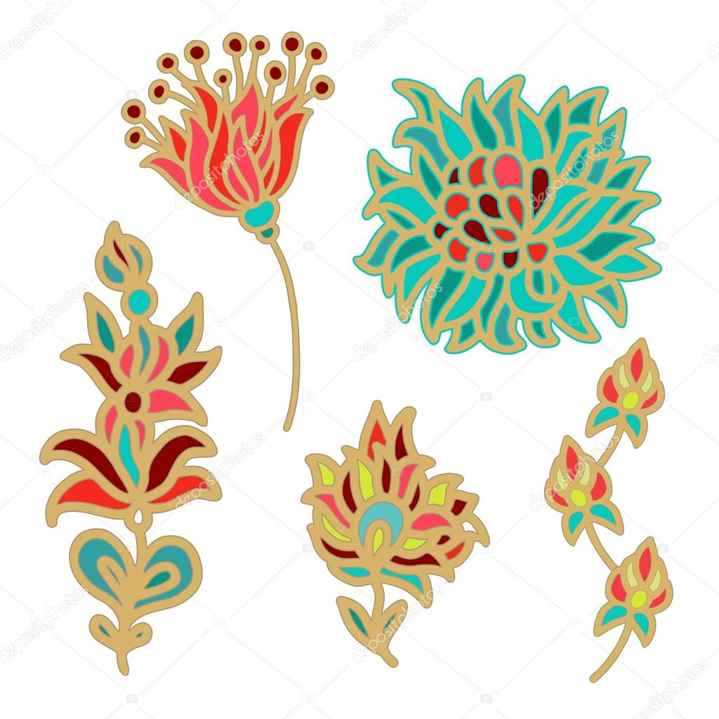 Flowers for decorative works — Stock Vector © Dariarra #34990669.