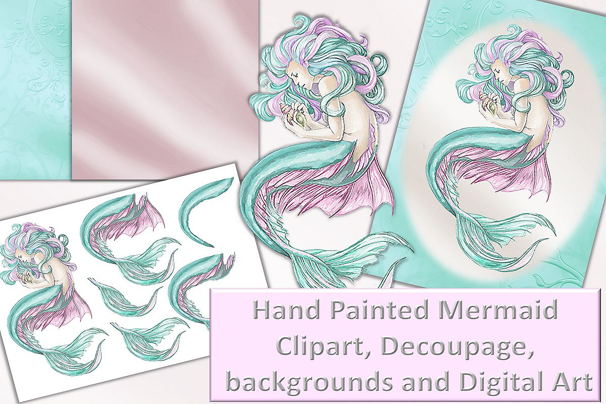 Mermaid clipart, Wall Art and decoupage sheet JPEG and PNG.