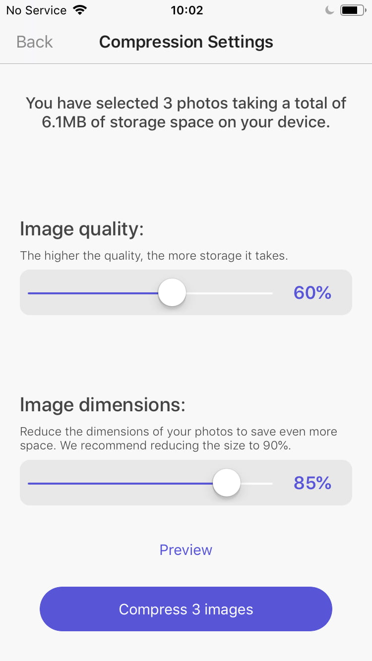 How to reduce pictures file size on iPhone.