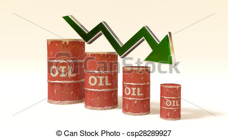 Clip Art of the price of oil decreases.