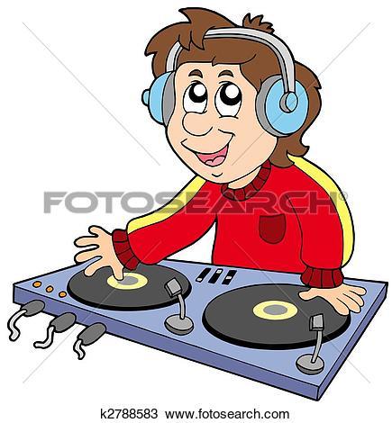 Stock Illustration of A DJ boy mixing music u28185816.