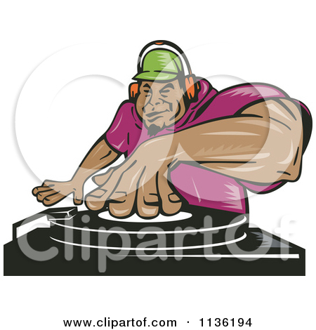 Clipart Of A Black Male Dj Mixing Records.