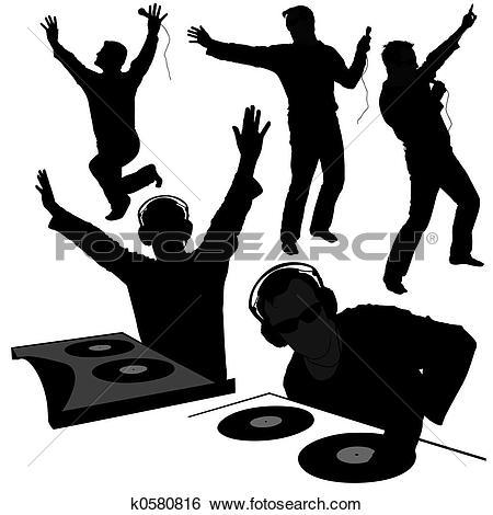 Stock Illustration of DJ silhouettes 2 k0580816.