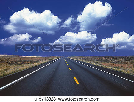 Pictures of an Asphalt Road Under a Deep Blue Sky, Front View.
