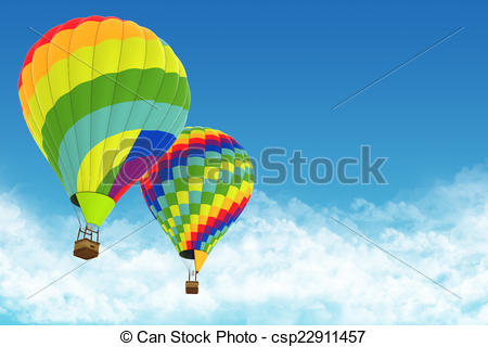Stock Illustrations of Beautiful Hot Air Balloons against a deep.