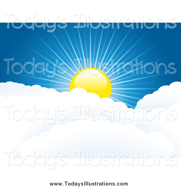Clipart of a Sun over Puffy White Clouds, with Rays of Light Cast.