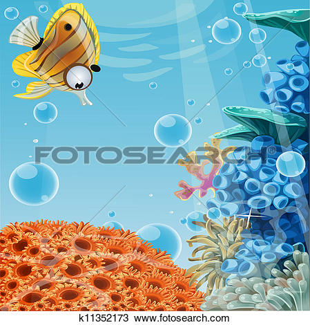 Clipart of Deep blue sea with coral reefs k11352173.