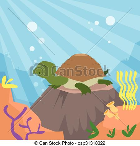 Vector Illustration of Cartoon Turtle Underwater Deep Ocean Bottom.