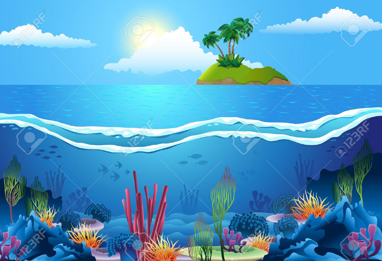 Deep sea scene clipart water.