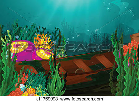 Clip Art of coral and rowboat in deep sea k11769998.