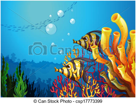 EPS Vectors of A deep sea with beautiful coral reefs and fishes.