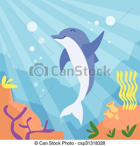 Vector Illustration of Cartoon Dolphin Underwater Deep Ocean.