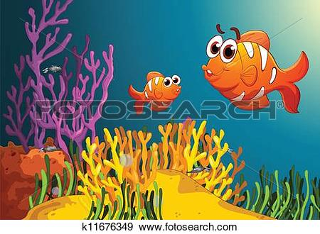 Clip Art of fish in a deep water k11676349.