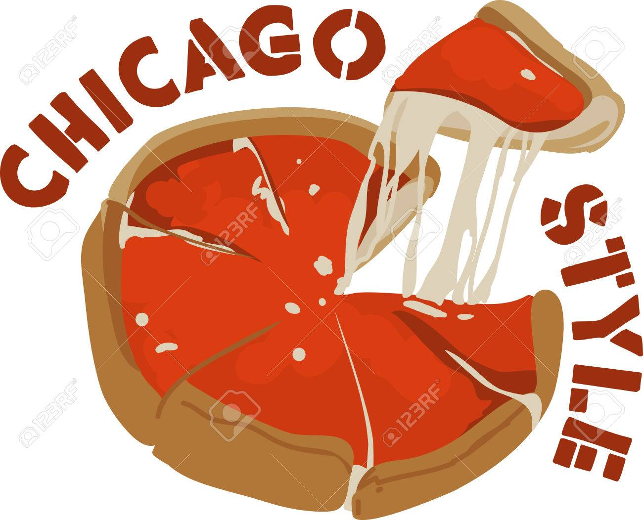 Cheesy deep dish pizza is a favored Chicago Style food..