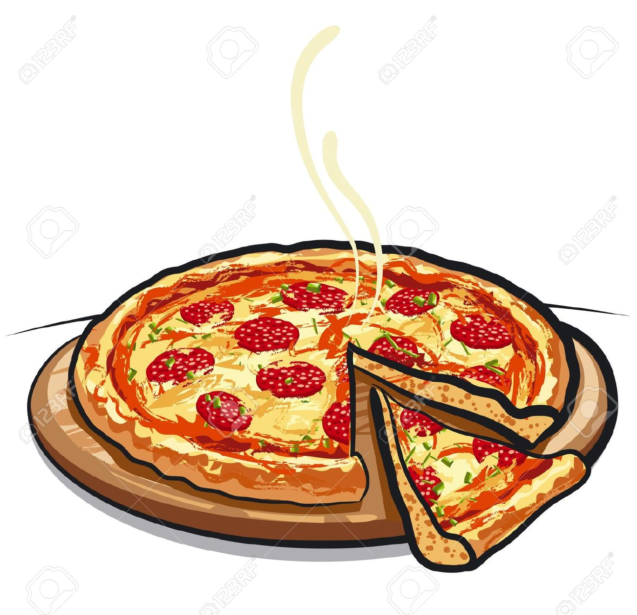 Deep Dish Pizza Clipart.