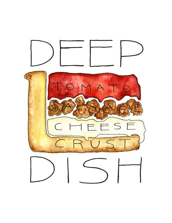 Chicago Deep Dish Pizza watercolor print.