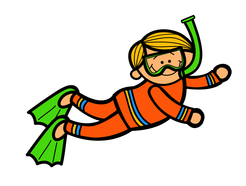 Kids diving clipart.