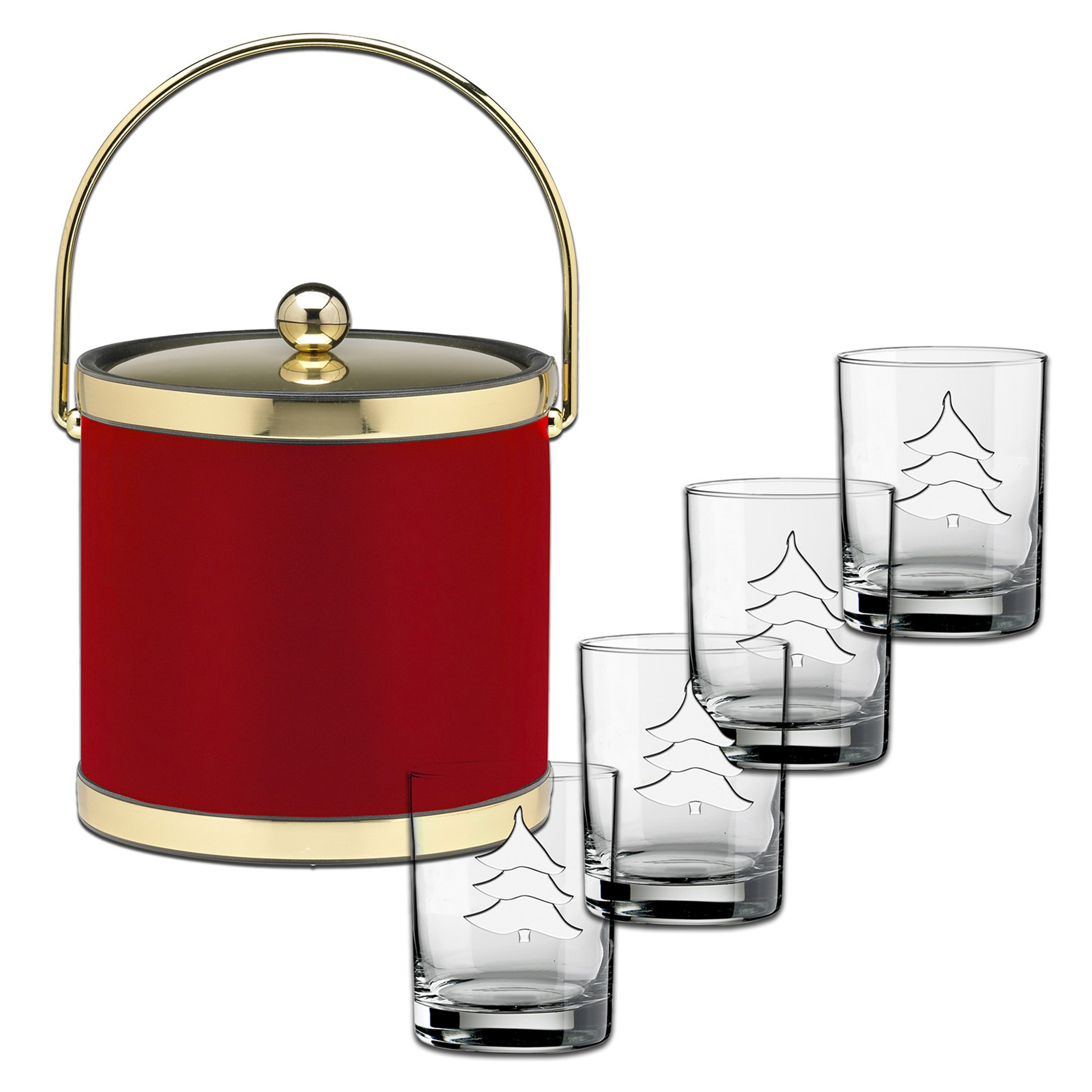 52585 SOPHISTICATES RED W/ BRUSHED BRASS 5 PC HOLIDAY SET, 3 QT.