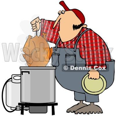 Free (RF) Clipart Illustration of a Hillbilly Deep Frying A Turkey.