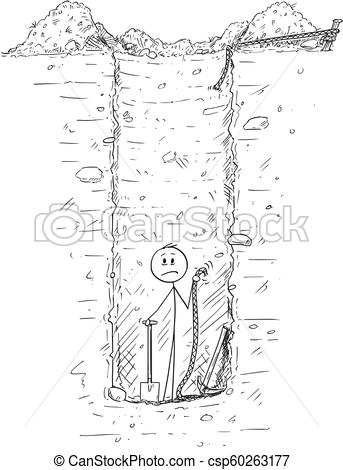 Cartoon of Man Trapped Inside Deep Hole or Water Well He Dig in the Ground.