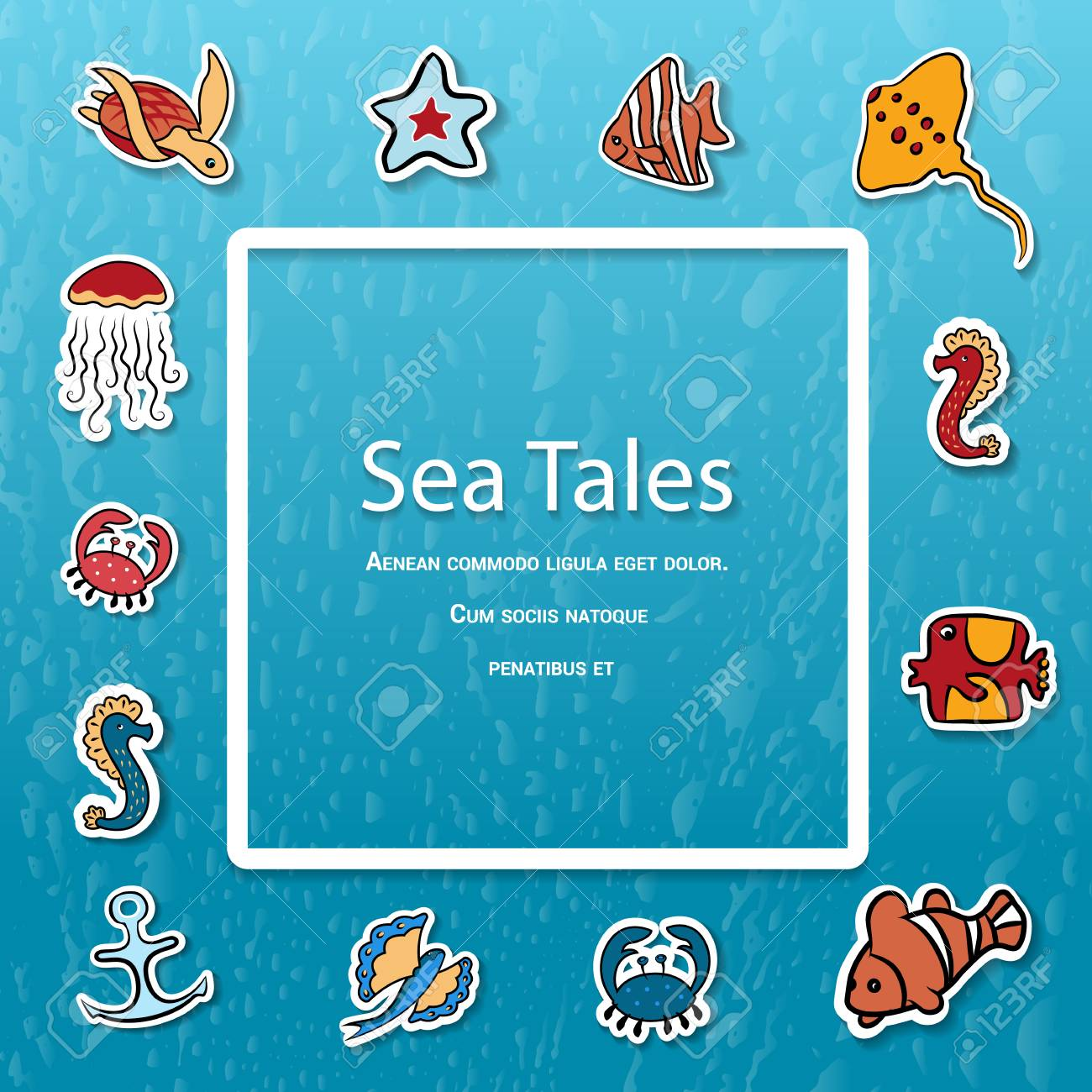 Clipart. Place for text, Shells, fish, deep.