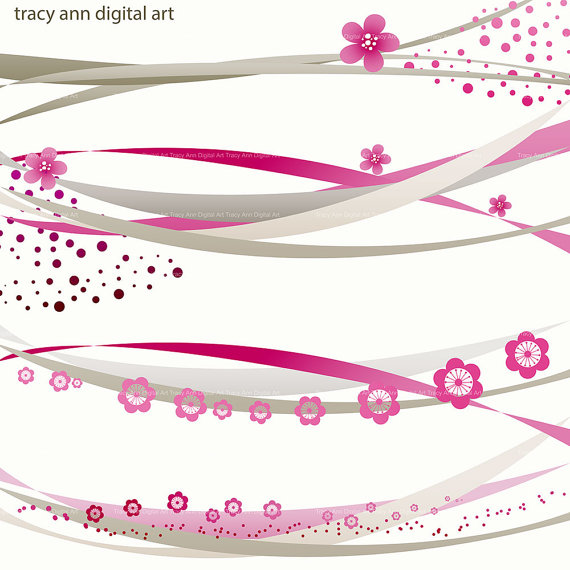 Deep Pink and Grey Digital Swirl border Clip by TracyAnnDigitalArt.