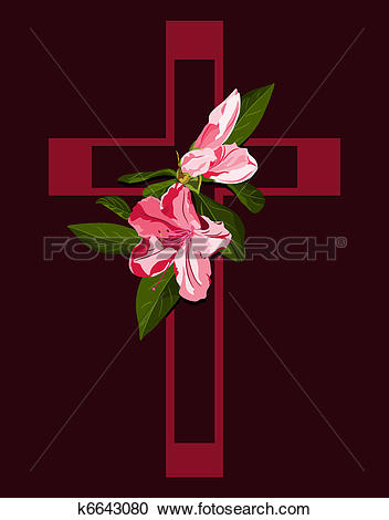 Clipart of Deep pink cross with azalea blossoms k6643080.