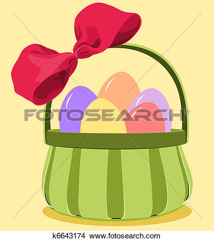 Clipart of Green basket with a deep pink bow filled with pastel.