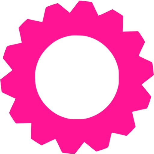 Deep pink gear icon.