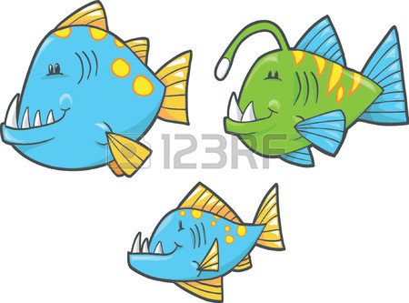 Vector Illustration Of Deep Sea Fish Royalty Free Cliparts.