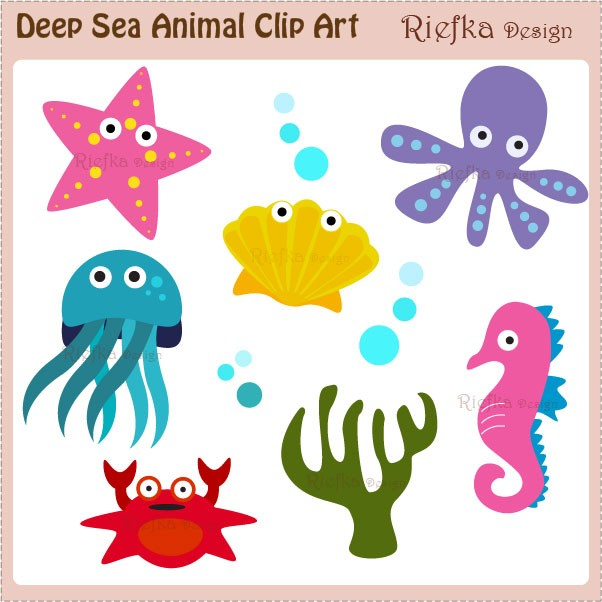 Underwater sea creatures clipart.