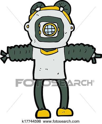 Cartoon deep sea diver Clip Art.