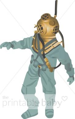 Deep Sea Diver Clipart.