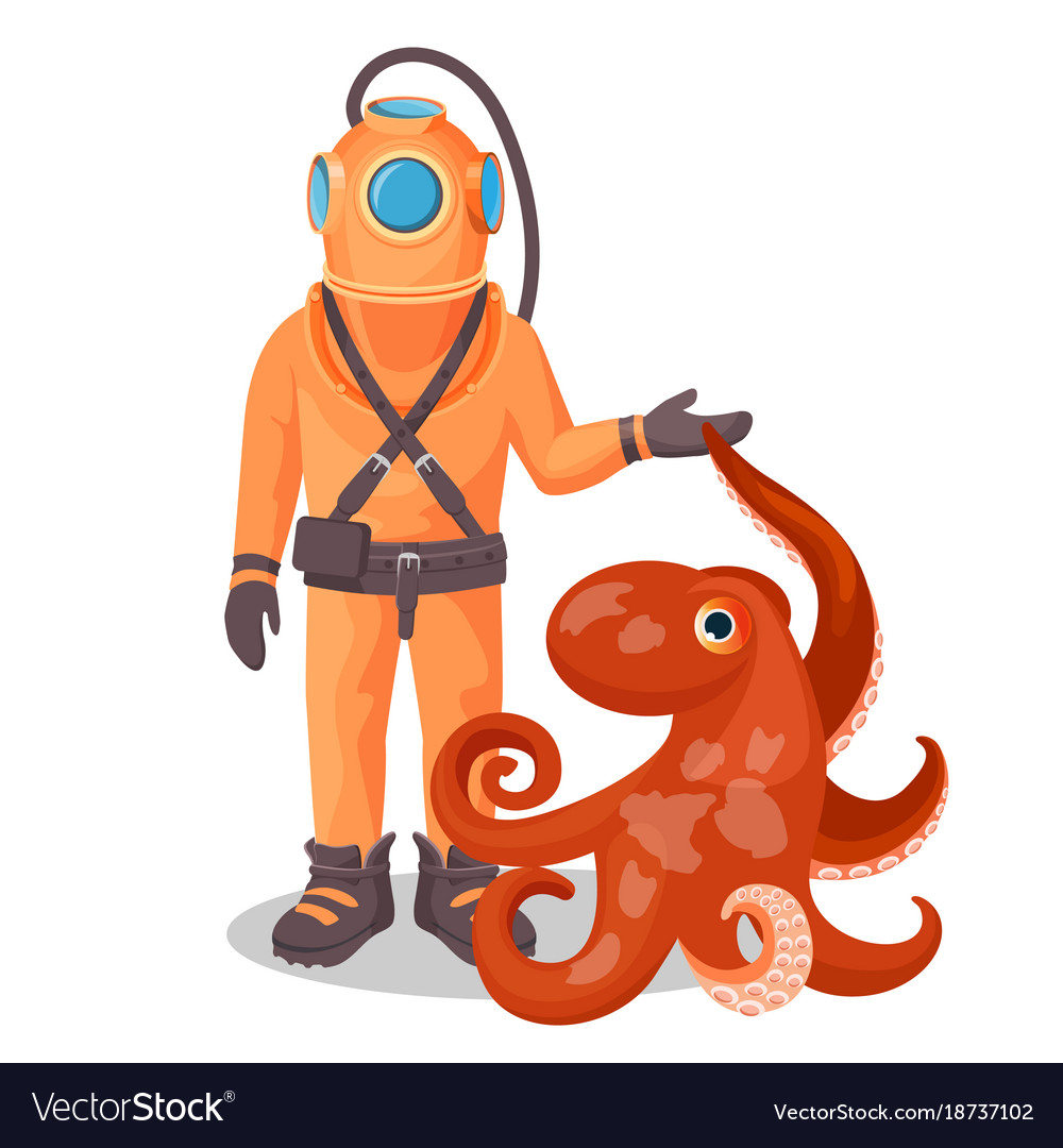 Deep sea diver in pressure suit holds sea devil.