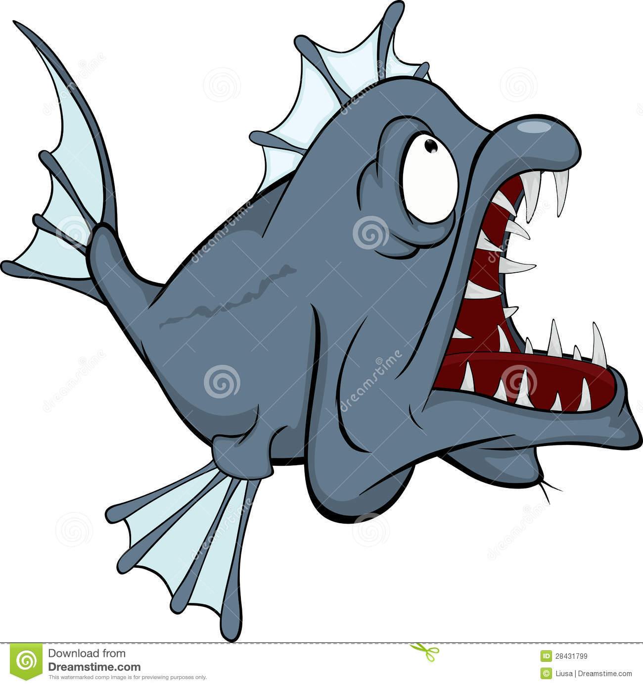 Deep Water Fish. Predator. Cartoon Royalty Free Stock Images.