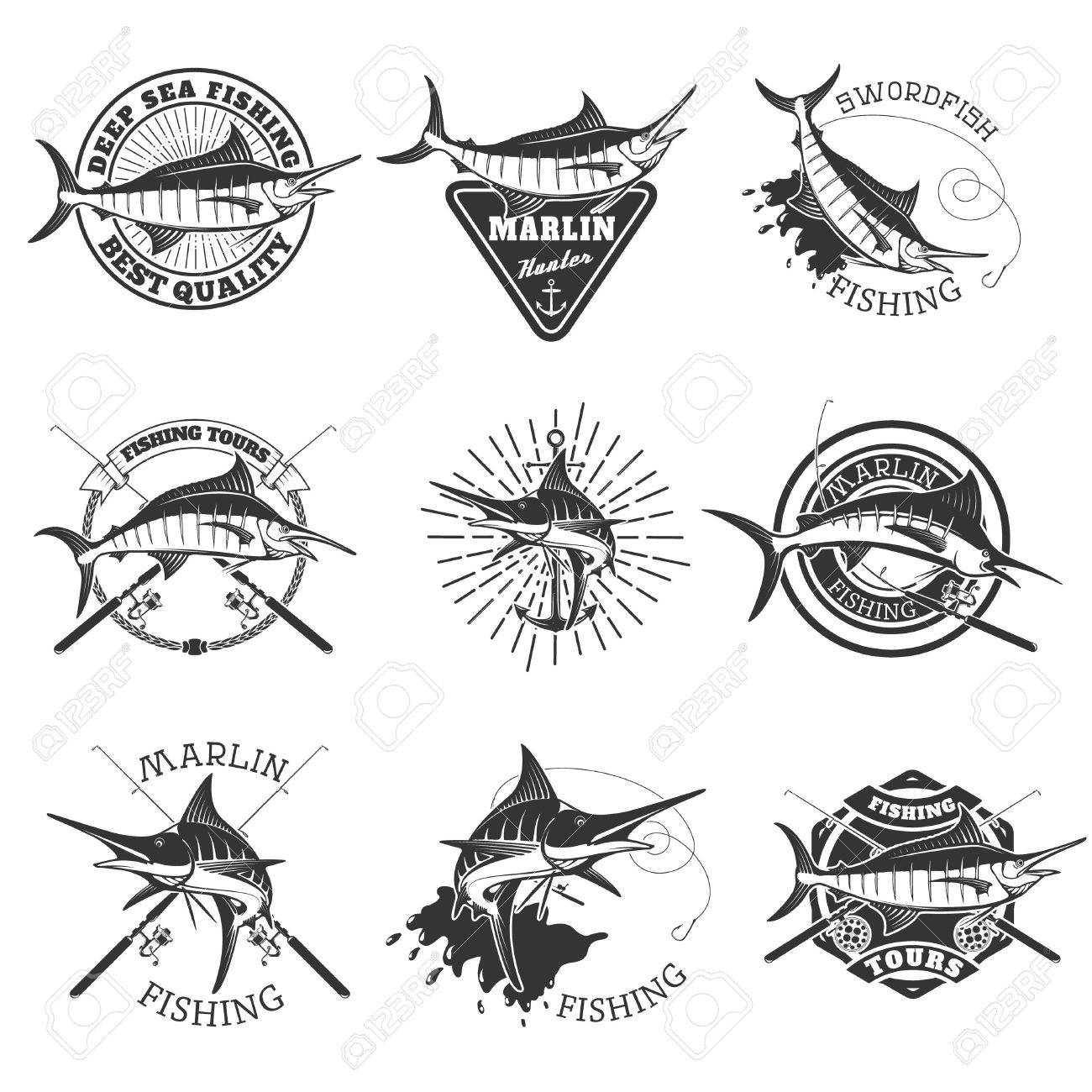Marlin fishing. Swordfish icons. Deep sea fishing. Design elements...