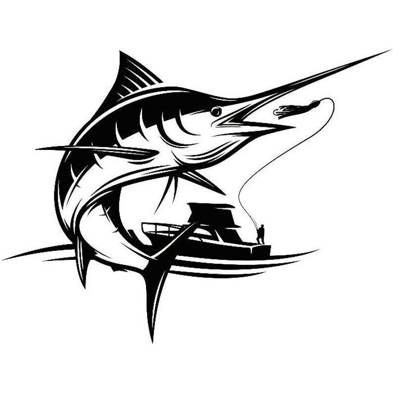 Marlin Logo #3 Deep Sea Ocean Water Fishing Hunting Fish Competition  Contest.SVG .EPS .PNG Instant Digital Clipart Vector Cricut Cut Cutting.