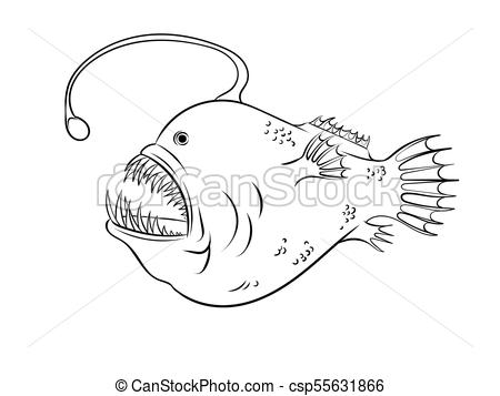 Deep sea fish with light coloring vector.