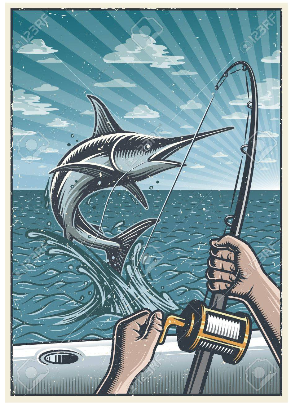 Vintage deep sea fishing background with hands holding fishing...