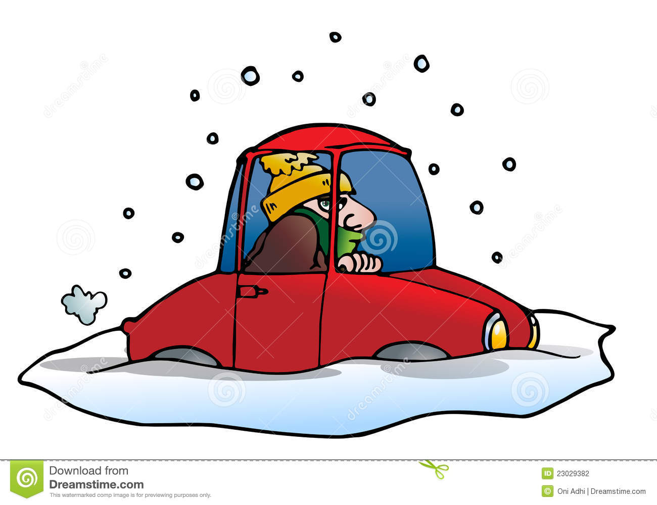 Car stuck in snow clipart.