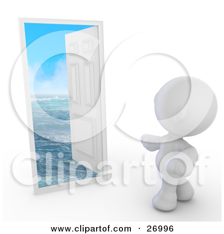 Clipart Illustration of a White Meta Man Standing In Front Of An.