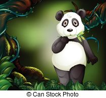 Vector Clipart of Panda standing.
