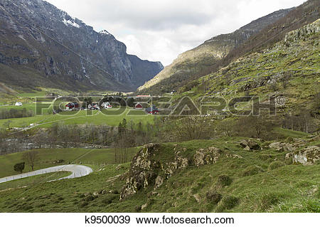 Stock Photograph of deep valley in norway k9500039.