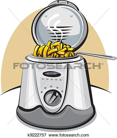 Clip Art of deep fryer and chips k9222757.