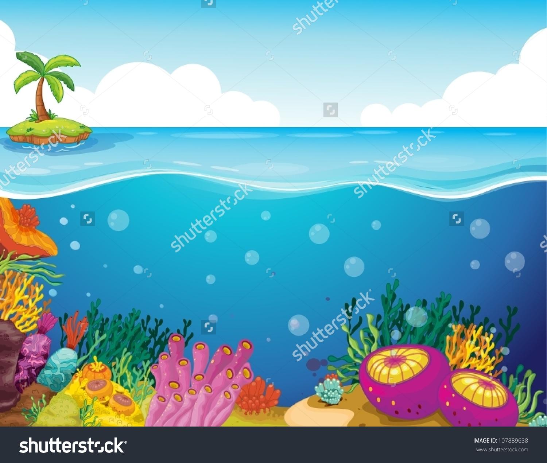 Illustration Palm Tree Coral Deep Sea Stock Vector 107889638.