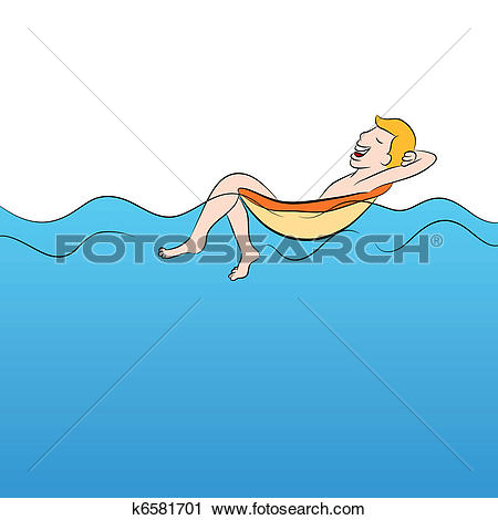 Clipart of Man Floating in a Pool of Water k6581701.