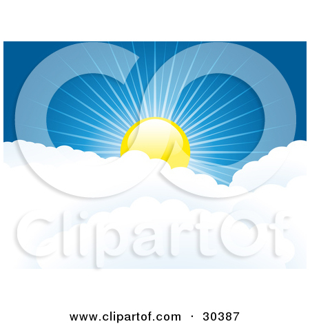 Clipart Illustration of a Bright Yellow Sun With Sparkling Light.